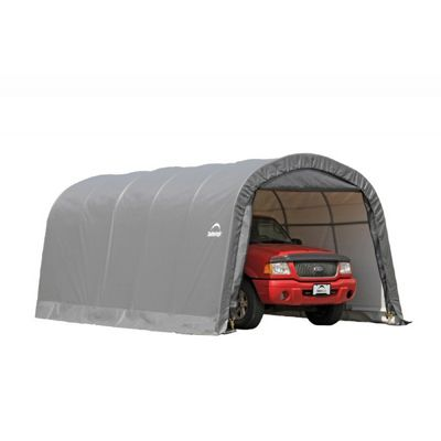 "Round Style Shelter 1-3/8"" 6-Rib Frame, Gray Cover 12×20×8 ft 62780"
