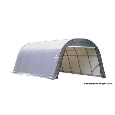 "Round Style Storage Shelter, 1-5/8"" Frame, Gray Cover 12 x 24 x 8 ft. 72332"