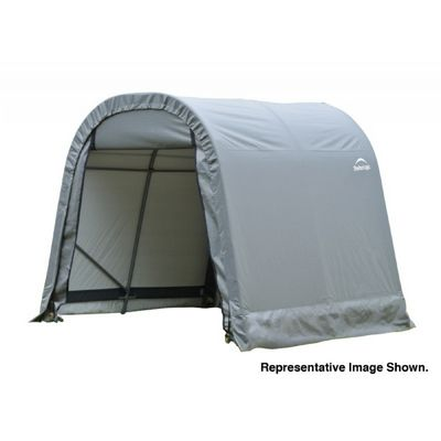 "Round Style Storage Shelter, 1-5/8"" Frame, Gray Cover 8 × 16 × 8 ft. 76823"