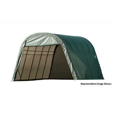 "Round Style Storage Shelter, 1-5/8"" Frame, Green Cover 13 x 24 x 10 ft. 74342"