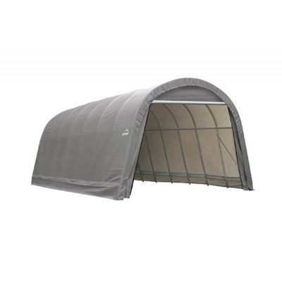 "Round Style Storage Shelter, 2-3/8"" Frame, Gray Cover 14 x 28 x 12 ft. 95333"