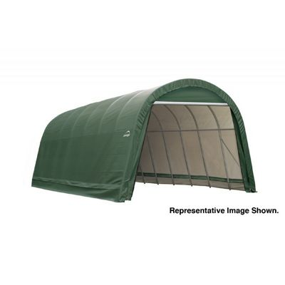 "Round Style Storage Shelter, 2-3/8"" Frame, Green Cover 14 x 24 x 12 ft. 95361"