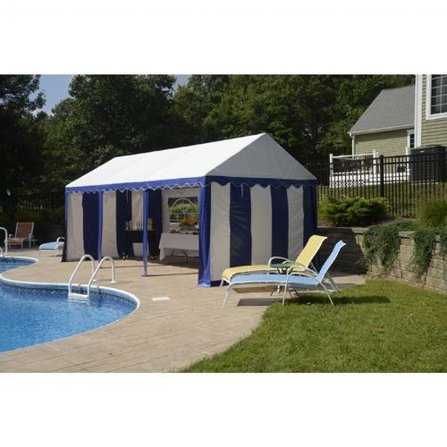 10x20 Party Tent, 8-Leg Galvanized Steel Frame, Blue with Enclosure Kit with Windows 25891