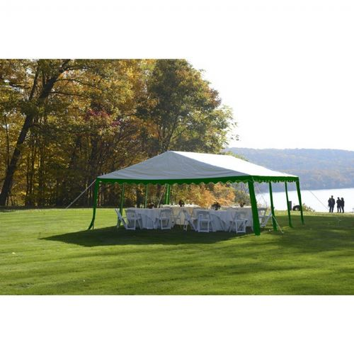 20x20 Party Tent, 8-Leg Galvanized Steel Frame, Green/White 25919