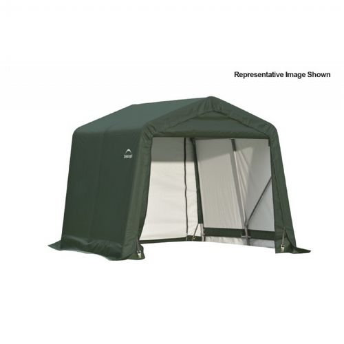 "Peak Style Storage Shelter, 1-5/8"" Frame, Green Cover 8 × 16 × 8 ft. 71824"