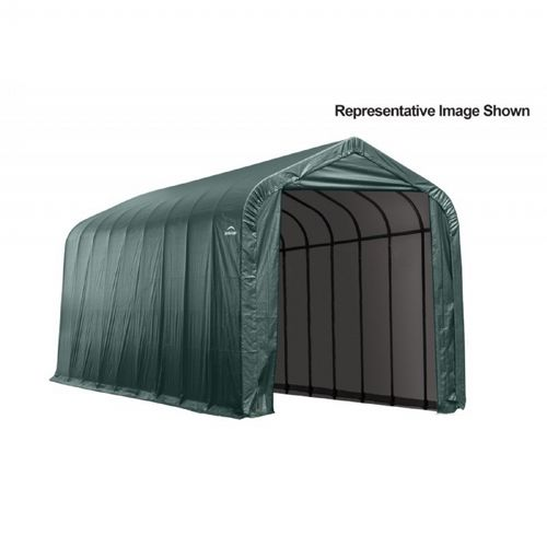 "Peak Style Storage Shelter, 2-3/8"" Frame, Green Cover 15 × 24 × 12 ft. 95371"