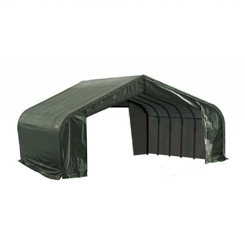 "Peak Style Storage Shelter, 2-3/8"" Frame, Green Cover 22 × 24 × 11 ft. 78641"