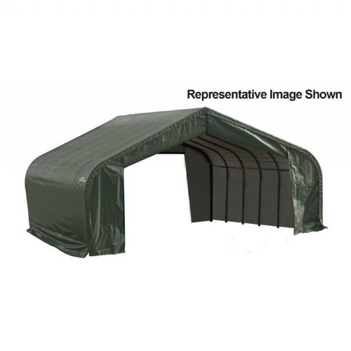 "Peak Style Storage Shelter, 2-3/8"" Frame, Green Cover 22 × 28 × 13 ft. 82244"