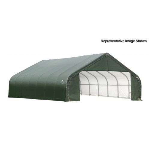 "Peak Style Storage Shelter, 2-3/8"" Frame, Green Cover 30 × 28 × 20 ft. 86071"