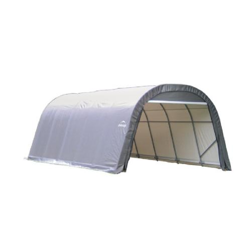 "Round Style Storage Shelter, 1-5/8"" Frame, Gray Cover 12 × 28 × 8 ft. 76632"