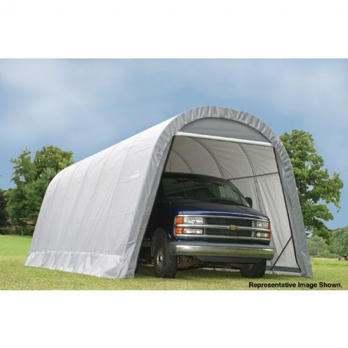 "Round Style Storage Shelter, 1-5/8"" Frame, Gray Cover 13 × 24 × 10 ft. 74332"