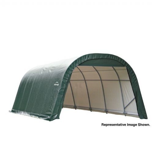 "Round Style Storage Shelter, 1-5/8"" Frame, Green Cover 12 × 24 × 8 ft. 72342"