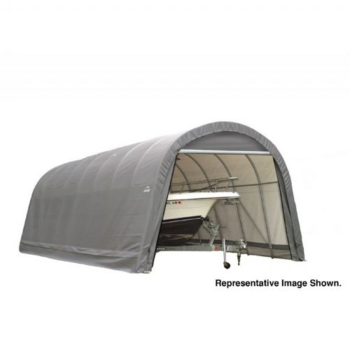 "Round Style Storage Shelter, 2-3/8"" Frame, Gray Cover 14 × 20 × 12 ft. 95340"