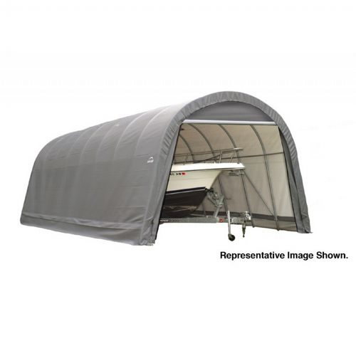 "Round Style Storage Shelter, 2-3/8"" Frame, Gray Cover 14 × 24 × 12 ft. 95360"
