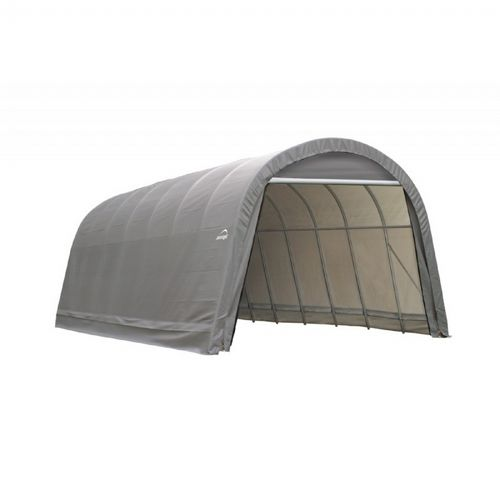 "Round Style Storage Shelter, 2-3/8"" Frame, Gray Cover 14 × 28 × 12 ft. 95333"