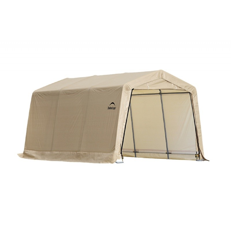"Auto Shelter 1-3/8"" 4-Rib Peak Style Frame, Sandstone Cover 10X15x8 Portable Garage"