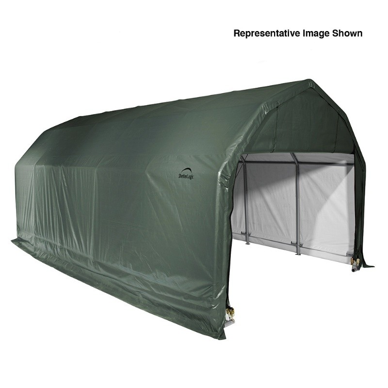 "Barn Style Storage Shelter, 2"" Frame, Green Cover 12 × 20 × 9 ft."