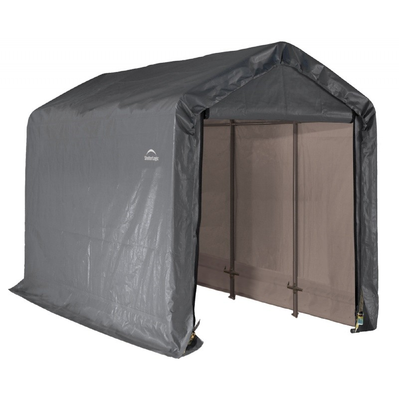 "Peak Style Storage Shed, 1-3/8"" Frame, Gray Cover 6 × 12 × 8"