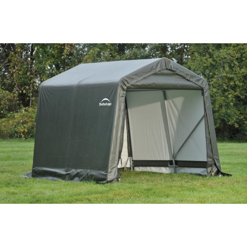 Peak 20x30x12 Shelter Storage : Peak style storage shelter quot frame green cover