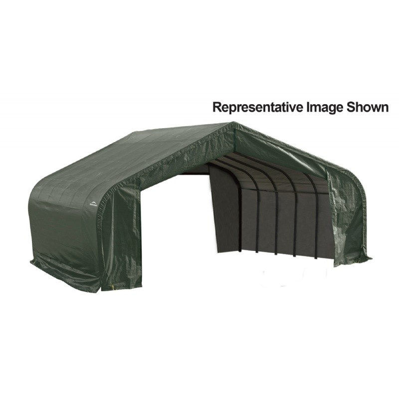 "Peak Style Storage Shelter, 2-3/8"" Frame, Green Cover 22 × 28 × 13 ft."