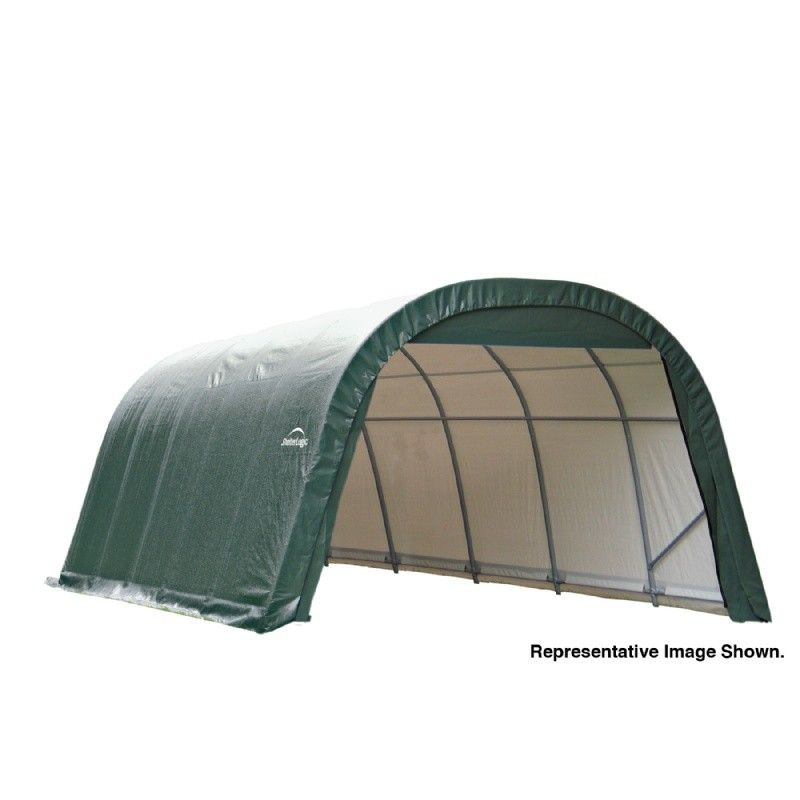 "Round Style Storage Shelter, 1-5/8"" Frame, Green Cover 12 × 24 × 8 ft."