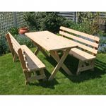 "Cedar 27"" Wide 6` Cross Legged Picnic Table with 2 pieces of 6` Backed Benches Natural"