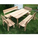 "Cedar Chickadee Dining Set Natural 46""L × 32""W ELY46CTT4BBCVD"