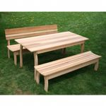 "Cedar Couple Dining Set Natural 94""L x 32""W ELY94CTT1B1BBCVD"