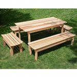 "Cedar Family Dining Set Natural 70""L × 32""W ELY70CTT4B-2CVD"