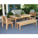 "Cedar Gathering Dining Set Natural 94""L × 32""W ELY94CTT2B2BBCVD"