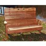 Cedar Royal Country Hearts Garden Bench Natural 4' WF1105CVD