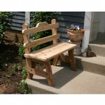 Cedar Tab Back Bench Natural 3`