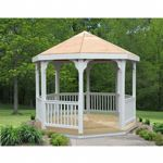 Creekvine Vinyl Gazebo 10 Feet with Pine Deck HBW10VEG-2CVD