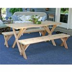 "Red Cedar 27"" Wide 8' Backyard Bash Cross Legged Picnic Table w/ Detached Benches Natural WF27WCLTCB8CVD"