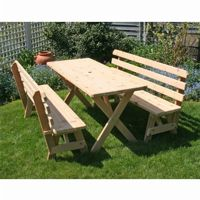 "Cedar 27"" Wide 8' Cross Legged Picnic Table with 4 pieces of 4' Backed Benches Natural WF27WCLTBB8CVD"