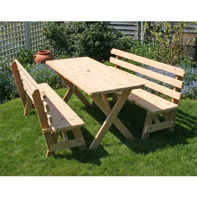 "Cedar 27"" Wide 6' Cross Legged Picnic Table with 2 pieces of 6' Backed Benches Natural WF27WCLTBB6CVD"
