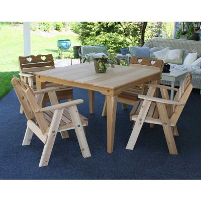 Cedar Country Hearts Dining Set Natural WRFSASDSCVD