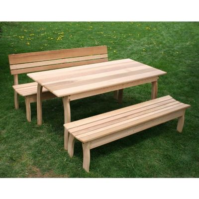 "Cedar Couple Dining Set Natural 58""L x 32""W ELY58CTT1B1BBCVD"