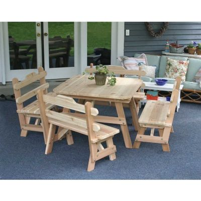 Cedar Four Square Dining Set Natural WRFFSQDSCVD