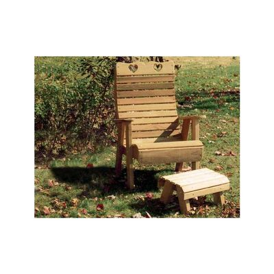 Cedar Royal Country Hearts Patio Chair & Footrest Set Natural WRF1135SETCVD