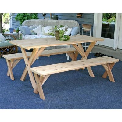 "Red Cedar 27"" Wide 10' Backyard Bash Cross Legged Picnic Table w/ Detached Benches Natural WF27WCLTCB10CVD"