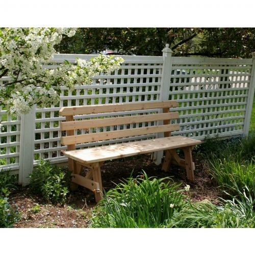 Cedar 4' Backed Bench Natural WRFBB4-2CVD