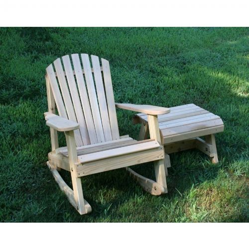 Cedar American Forest Adirondack Rocker & Side Table Set Natural WRFKEYRSETCVD