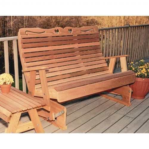 Cedar Royal Country Hearts Rocking Glider Natural 4' WF1205CVD