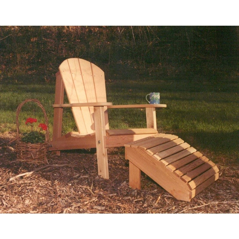 Cedar Adirondack Chair & Footrest Set Natural