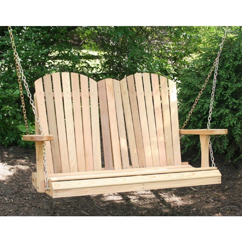 Cedar Adirondack Chair Style Porch Swing Natural