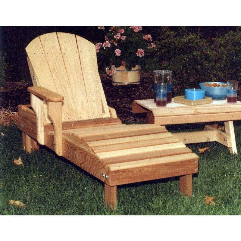 Cedar adirondack chaise lounge natural for Adirondack chaise