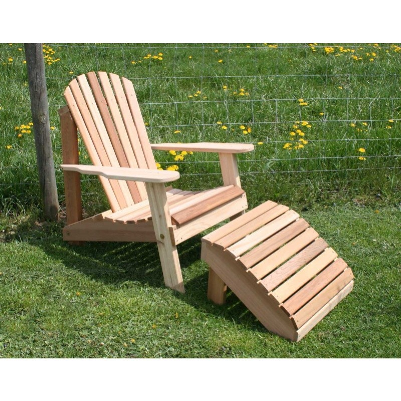 Cedar American Forest Adirondack Chair & Footrest Set Natural