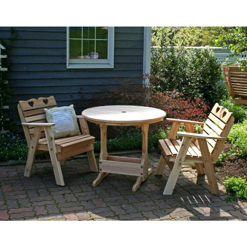 Outdoor Furniture: Bistro Sets: Cedar Country Hearts Bistro Set Natural