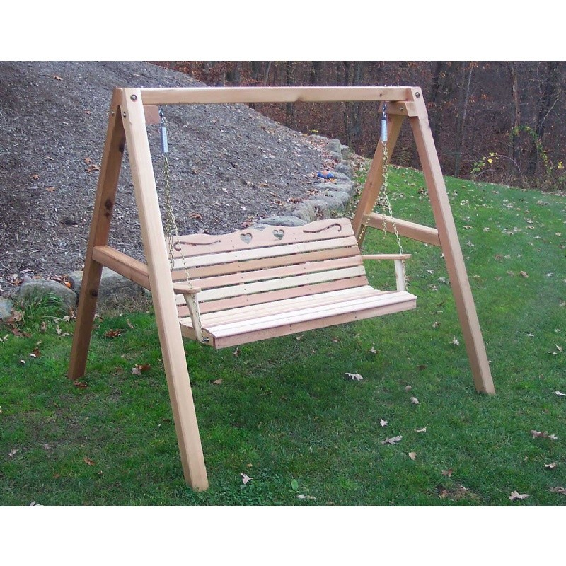 Cedar Country Hearts Porch Swing w/Stand Natural 4'